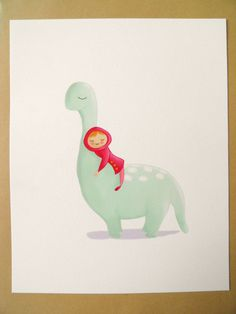 Girl with dinosaur  art print  8 x 10 inch by NikkiDotti on Etsy, €17.50