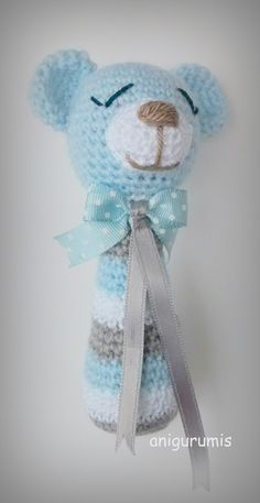 Free Pattern in Spanish Crochet Baby Toys, Crochet Bear, Crochet Animals, Crochet For Kids, Crochet Dolls, Baby Knitting, Free Crochet, Amigurumi Patterns, Tricot