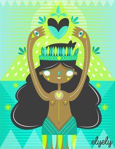 Melissa Sánchez, ilustradora mexicana originaria de Aguascalientes. Conoce su propuesta en www.estilomexicano.com.mx  #Arte #Diseño #Ilustración #Artwork #Print #Dibujo #Sirena # Art #Design #Serigrafía