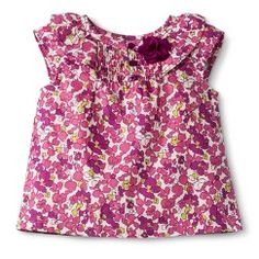 Infant Toddler Girls' Cap Sleeve Floral Blouse - Wild Rose 5T