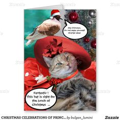 CHRISTMAS CELEBRATIONS OF PRINCESS TATUS CAT GREETING CARD