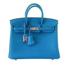 Hermes Blue Paradis Togo Birkin 25 with Palladium Hardware