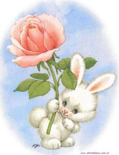 A very happy Easter to all my dear friends here. I hope you have great and wonderfull days with your friends and family. Bunny Art, Cute Bunny, Cute Images, Cute Pictures, Cute Easter Pictures, Vintage Easter, Cute Illustration, Vintage Cards, Belle Photo