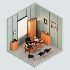 Michael Scott's Office — The Rooms Project on Behance Illustration Story, Creative Illustration, 3d Illustrations, Interactive Stories, Interactive Design, Ux Design, Branding Design, India Design, Maxon Cinema 4d