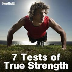 Seven Tests of True Strength is part of Fitness training - Are you Men's Health Fit Prove it—or improve Mens Fitness, Fitness Tips, Health Fitness, Men Health, Muscle Fitness, Fitness Quotes, Gain Muscle, Muscle Men, Build Muscle