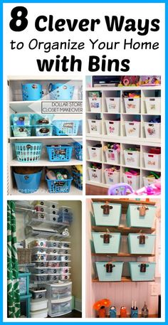 If you want to organize your home in an easy and inexpensive way, skip the expensive professional organizing systems and just organize your home with bins!   Home Organizing Tips   Organizational Tools