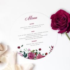 Our Floral Rose invitation suite is printed on white card. Wedding Suite, Rose Wedding, Floral Wedding, Wedding Menu Cards, Wedding Stationery, Wedding Desserts, Wedding Cakes, Invitation Suite, Invitations