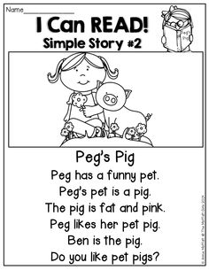 I Can READ!  Simple stories and simple sentences for BEGINNING and/or STRUGGLING readers!  Each story is made of basic sight words and CVC words!