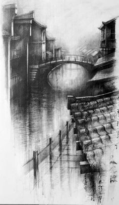 Wuzhen The Fading Light Ian Murphy Drawings Pencil Sketches Landscape, Landscape Drawings, Architecture Drawings, Pencil Art Drawings, Art Sketches, Charcoal Sketch, Charcoal Art, Charcoal Drawing, A Level Art
