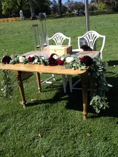 Floral garland sweetheart table