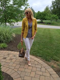 Love the striped shirt, paired with a GREAT mustard colored blazer and white jeans (have!)