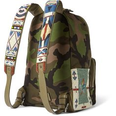 Valentino Camouflage-Print Canvas Backpack (1.276.490 HUF) ❤ liked on Polyvore featuring men's fashion, men's bags, men's backpacks, mens canvas backpack and mens laptop backpack