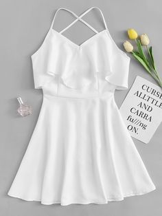 Shop Criss Cross Back Tiered Dress at ROMWE, discover more fashion styles online. Cute Girl Outfits, Cute Casual Outfits, Pretty Outfits, Pretty Dresses, Stylish Outfits, Casual Dresses, Kohls Dresses, Dresses Dresses, Summer Dresses