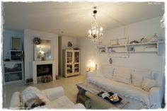 Living Room.White, Grey, Black, Chippy, Shabby Chic, Whitewashed, Cottage, French Country, Rustic, Swedish decor Idea.. ***Pinned by oldattic ***.