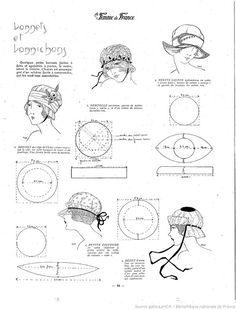 La Femme de France 1919/10/19 Hat pattern ✿•Some of the patterns are for regular size not dolls size. But these same patterns will work just as well for dolls - just shrink or enlarge to fit - they work great ♥. ..•♥°.... Nims.... °♥•: