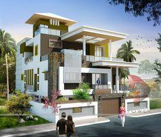 Dream House Plans, Modern House Plans, Modern House Design, Innovative Architecture, Architecture Design, Indian House Plans, Casas The Sims 4, House Elevation, Facade House