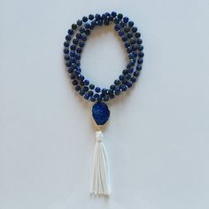 Long Blue Lapis with Druzy Pendant and White Suede Tassel Beaded Boho Necklace #piercedesignco