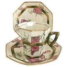 """Antique Aesthetic Movement coffee cup trio, W.A. Adderley """"Shansi"""", 1882"""