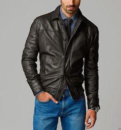 New Men's Genuine Lambskin Leather Jacket Black Slim fit Motorcycle jacket - 165 Lambskin Leather Jacket, Biker Leather, Leather Men, Leather Jackets, Real Leather, Motorcycle Leather, Studded Leather, Black Leather, Slim Fit Jackets