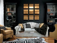 Sophisticated Living Room Color Schemes Ideas: Amusing White Tufted Camelback Sofas With Zebras Rug On Fake Wood Floors Plus Built In Cabinets In Dark Gray Living Room Color Schemes With Modern Furnishing Decoration Ideas
