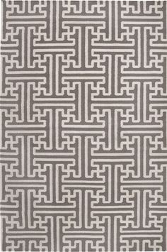Grey and Ivory Geometric Patterned Rug