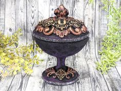 OOAK Keyhole Apothecary Jar Candy Dish Potion Bottle One Of A Kind / Wiccan Altar Clay Gothic Home Decor Witchy Decor Goth Witch Pagan Gifts Wiccan Decor, Wiccan Altar, Witch Jewelry, Pagan Jewelry, Witchcraft Supplies, Potion Bottle, Witch Aesthetic, Gothic Home Decor, Gothic House