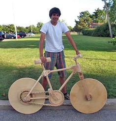 Built by 16 year old Marco Facciola, every part of this bike is made from wood. The inspiration for it came from his grandfather who was forced to make wooden wheels for his bike during the war because of rubber shortages.