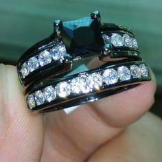 NEW Style, Black Topaz Diamonique10KT Black Wedding Ring Set Size 10 FREE SHIP #loverings #Solitaire