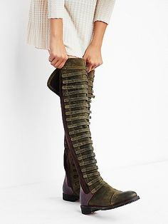 Black Forest Over The Knee Boot | Made from the finest Italian craftsmanship this gorgeous distressed suede and leather over-the-knee boot features caged straps down the front. Inside zip closure for an easy on/off. Durable rubber sole.