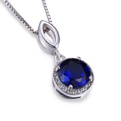 3ct Sapphire Pendant Necklace Pure Solid 925 Sterling Silver Jewelry – Gemstonese