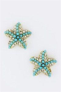 turq blue starfish earrings