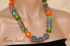 Stunning Multi Coloured Polymer Clay Bead Necklace with round and pillow shaped beads and Cool Frost Resin Beads - OOAK