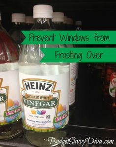 Prevent Windows from Frosting Over  Don't have time (or want to) scrape the ice off of your windshield? Use this tip instead: Coat your windows/windshield with three parts white distilled vinegar and one part water. This will make the ice come right off and not stick as well to your car.