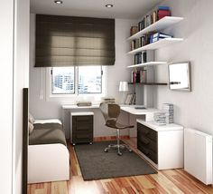 Small room design, this room really works.  It serves multiple purposes.  A bedroom, study, and there is room for a TV.  Bookshelves and storage is evident in this room.  Dorm Room/ Living Room/ Bedroom.