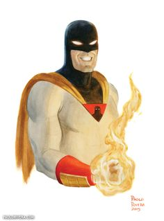 I wasted wayyyy too much time of my childhood watching this not to post one Space Ghost by Paolo Rivera * Comic Book Artists, Comic Book Characters, Comic Books Art, Comic Art, Hanna Barbera, Space Ghost, Nerd, Saturday Morning Cartoons, High Art