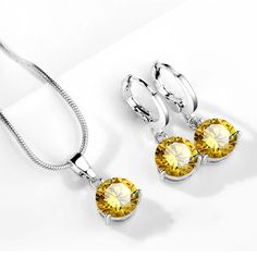 Round Cubic Zircon Hypoallergenic Copper Necklace/Earrings Jewelry Set-Amber
