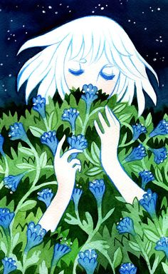Flowers series, artwork 2/5California Bluebell- Artbook with plantable seeds and watercolour illustrations. Available at Desucon!