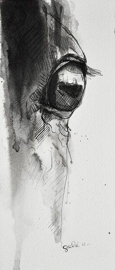 Horse Look 3 Black Ink Painting OOAK. $54.00, via Etsy.