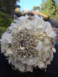 all white bridal bouquets with rhinestones | Wedding bouquet rhinestone brooch by AlwaysElegantBridal on Etsy