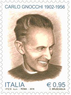 Emissione di un francobollo commemorativo di Carlo Gnocchi, nel 60° anniversario della scomparsa