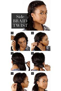 Best Hair Braiding Tutorials - Side Braid Twist - Step By Step Easy Hair Braiding Tutorials For Long Hair, Pont Tails, Medium Hair, Short Hair, and For Women and Kids. Videos and Ideas for Dutch Braids, Messy Buns, Fishtail Braids, French Braids, Black Hair, Blondes, And Even For Headbands - https://thegoddess.com/best-hair-braiding-tutorials