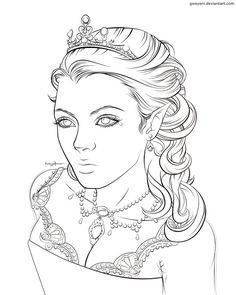 Elf Queen Lines by Gweyeni.deviantart.com on @DeviantArt