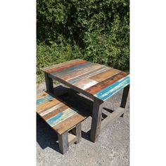 The Beach Bum Reclaimed Wooden Table Made From Barnwood and Reclaimed... ($599) ❤ liked on Polyvore featuring home, furniture, black, dining room furniture, home & living, wooden furniture, recycled wood furniture, timber furniture, lumber furniture and black wood furniture