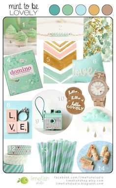 Color Inspiration Board: Mint to be Lovely, Mint and Gold Color Palette © Limefish Studio 2013