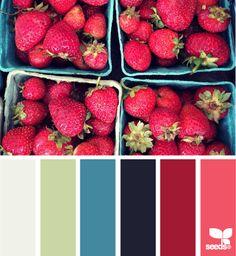 strawberry palette - green for kitchen? Colour Pallette, Colour Schemes, Color Combos, Color Patterns, Paleta Pantone, Color Harmony, Design Seeds, World Of Color, Color Stories