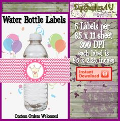 Printable Princess Water Bottle Wrap for Birthdays Parties and More