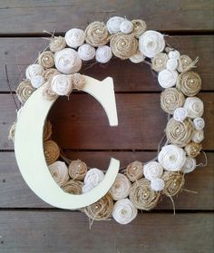 personalized shabby chic burlap and muslin grapevine wreath. $60.00, via Etsy.