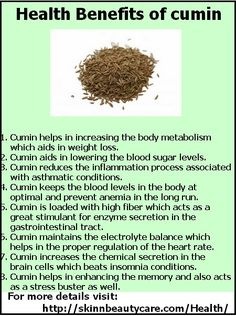 Healt Benefits of Cumin: The good old cumin- Discover its health benefits! http://skinnbeautycare.com/Health/health-benefits-of-jeera-cumin/