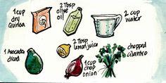 Recipe Comix: Quinoa and Avocado Salad from Saveur Mag! Western Food, Quinoa Salad Recipes, Vegan Ideas, Recipe Boards, Avocado Salad, Dinner Dishes, Farmers Market, Superfood, Fair Trade