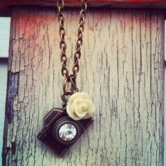 CAPTURE the moment CAMERA NECKLACE antique bronze chain photography photographer gift teal coral red black cream rose dahlia mum flower on Etsy, $10.00